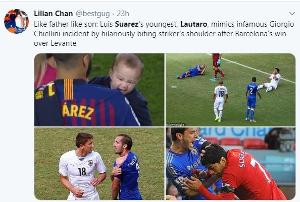 Khoanh khac con trai Suarez can vai bo gay sot mang xa hoi hinh anh 1