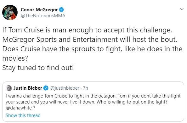 Justin Bieber thách đấu Tom Cruise trên sàn UFC