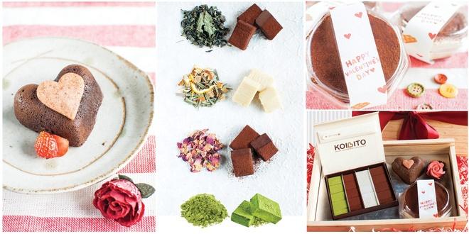 Set hop qua go Valentine chocolate tuoi va banh Nhat doc dao hinh anh