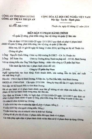 Biên bản vi phạm hành chính liên quan đến lô gỗ màcông an TX.Thuận An xác lập đầu tháng 12/2014 mà đến nay khởi tố vụ án hình sự.