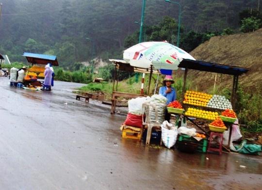Hong Da Lat truoc nguy co xoa so hinh anh 1 Thương lái thu mua giá quá rẻ, người dân Đà Lạt phải đưa hồng xuống đường bán.