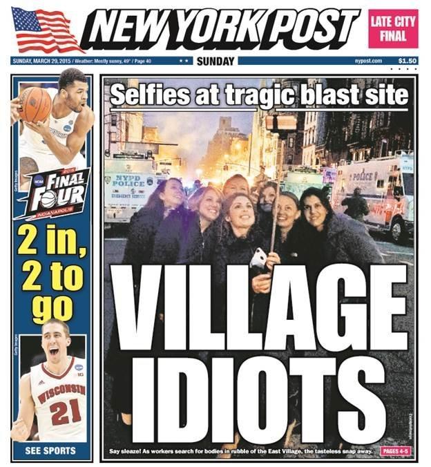 Chup anh tu suong tai hien truong tai nan: Khong co tim? hinh anh 2 Bìa báo New York Post ngày 29/3.