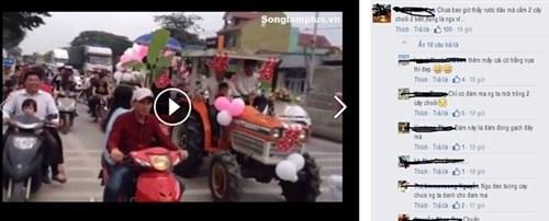 Dam cuoi ruoc dau bang may cay o Nghe An hinh anh 1 Đoàn rước dâu tham gia giao thông không đội mũ bảo hiểm gây bức xúc trong dư luận.