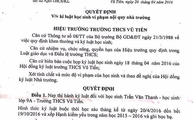 Vu HS bi dinh chi hoc 6 thang: Kha nang co em se duoc di hoc hinh anh