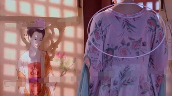 Nhat san phim ve Vo Tac Thien cua Pham Bang Bang hinh anh 3 Vì áo của nhân vật quá mỏng làm lộ ra việc cô nàng mặc áo lót màu hồng.