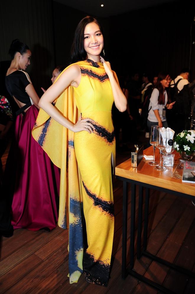 Dan sao Viet khoe dang tren tham do Elle Awards hinh anh 10 Hoa hậu Thùy Dung nổi bật với bộ đầm vàng và đen. Phần chân váy xẻ cao quyến rũ và thu hút.