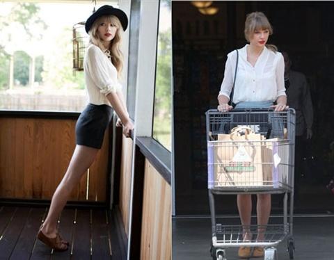 Dien ao so mi mua thu dep nhu Taylor Swift hinh anh 3 Nếu muốn trở thành một cô gái xinh đẹp, quyến rũ và gợi cảm thì mix áo sơ mi cùng váy ngắn ôm sát như nữ ca sĩ tóc vàng trong trường hợp này là sự lựa chọn lý tưởng đấy.