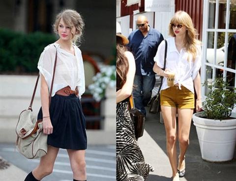 Dien ao so mi mua thu dep nhu Taylor Swift hinh anh 4 Nếu muốn cá tinh hay phá cách thì bạn có thể chọn những kiểu áo cách điệu hay đơn giản là buộc vạt áo lại với nhau như thế này.