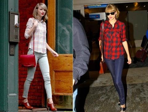 Dien ao so mi mua thu dep nhu Taylor Swift hinh anh 5 Đơn giản từ kiểu cách đến màu sắc nhưng vẫn