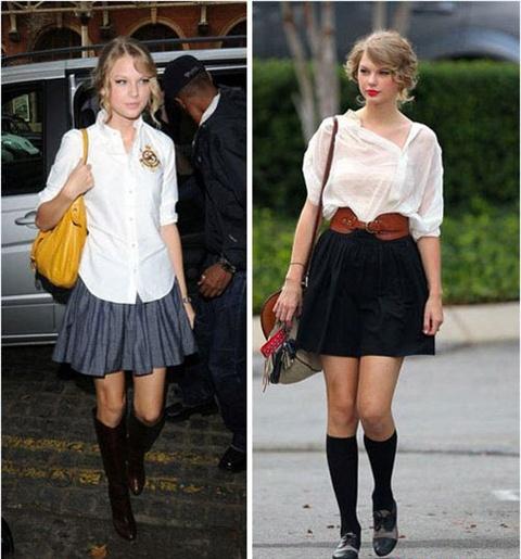 Dien ao so mi mua thu dep nhu Taylor Swift hinh anh 6 Thướt tha với áo sơ mi và váy cùng bốt hay tất cao cổ. Những ngày thu se lạnh bạn cũng có thể diện cho mình phong cách này đấy.