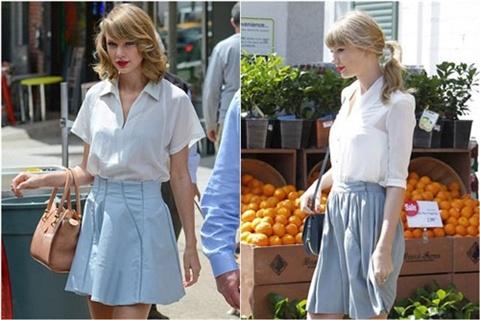 Dien ao so mi mua thu dep nhu Taylor Swift hinh anh 2 Không cầu kì, chỉ với áo sơ mi trắng và chân váy xanh như Taylor Swift, bạn đã có ngay một trang phục thanh lịch và tươi sáng để đi làm, đi chơi.