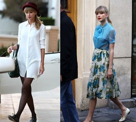 Dien ao so mi mua thu dep nhu Taylor Swift hinh anh 1 Nếu bạn còn băn khoăn cách diện áo sơ mi thế nào những ngày se lạnh thì những chiếc áo siêu dài hay kết hợp với chân váy thướt tha sẽ là một sự lựa chọn đáng để lưu tâm đấy.