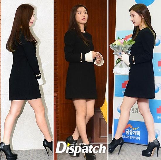Hoc my nhan Han mac gam den sang chanh ma khong bi du hinh anh 12 Váy đen dáng xòe, giày cao gót và tóc xõa như nữ diễn viên Kim So Eun rất hợp với dáng người nhỏ nhắn.