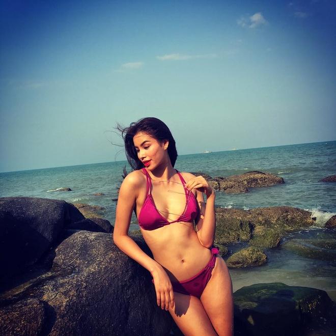 Pham Huong khoe dang voi bikini tai Thai Lan hinh anh 1