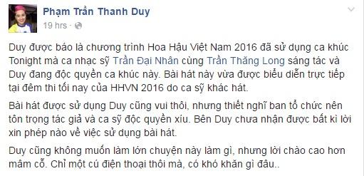 BTC Hoa hau Viet Nam 2016 vi pham ban quyen ca khuc hinh anh 2