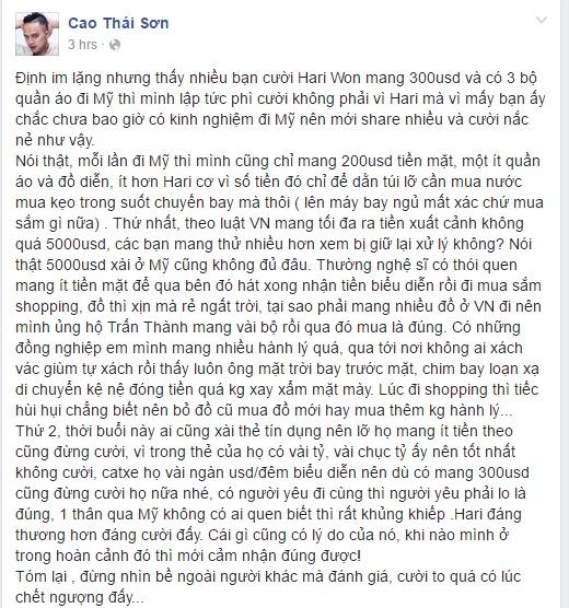 Cao Thai Son benh vuc Hari Won mang 300 do sang My anh 2