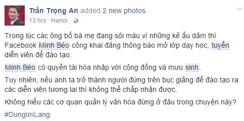 Minh Beo bi phan doi khi tuyen sinh dao tao dien vien hinh anh 2