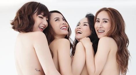 Nhom May Trang chup anh nude nhan dip tai hop tren san khau hinh anh