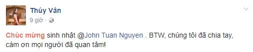 A hau Thuy Van cong khai chia tay dai gia vao dung sinh nhat hinh anh 1