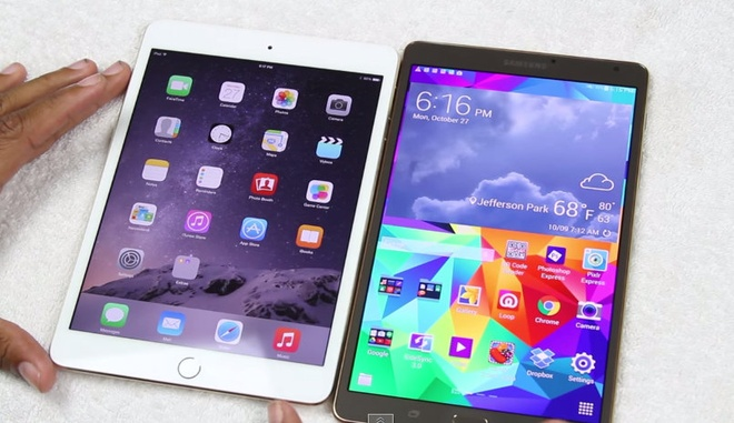 Chon iPad mini 3 hay Samsung Galaxy Tab S 8.4 hinh anh