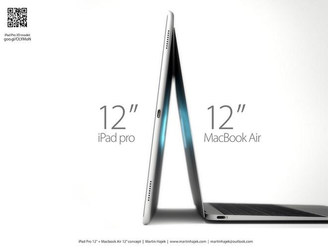 iPad Pro va MacBook Air 12 inch so dang voi ban dung 3D hinh anh