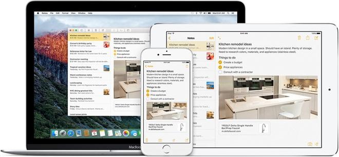 Nhung nang cap dang gia tren iOS 9 hinh anh 3 Notes thêm nhiều lựa chọn về cách ghi chú. Ảnh: Apple.