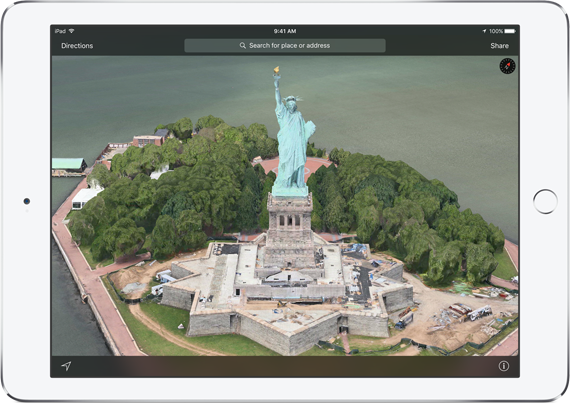"""Nhung nang cap dang gia tren iOS 9 hinh anh 5 """"Thăm quan"""" thành phố dưới dạng 3D. Ảnh: Apple."""