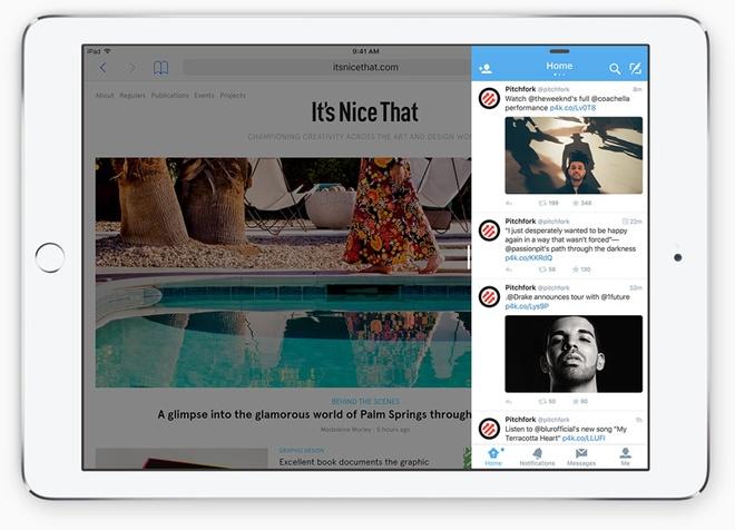 Nhung nang cap dang gia tren iOS 9 hinh anh 7 Tính năng Slide Over trên iOS 9. Ảnh: Apple.