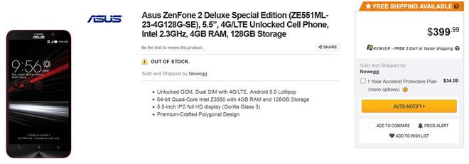 Asus phat hanh phien ban dac biet cua Zenfone 2 gia 399 USD hinh anh 3 Phiên bản màu đen đã hết hàng chỉ sau ít giờ mở bán.
