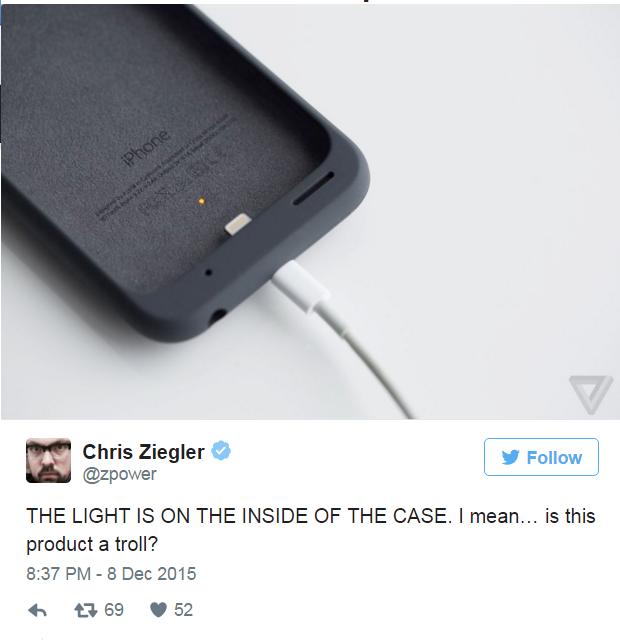 Nhung thiet ke di nguoc tuyen bo cua Apple hinh anh 5 Ốp lưng sạc có mức pin đặt bên trong, khiến người dùng khó theo dõi mức độ sạc khi cắm vào iPhone.