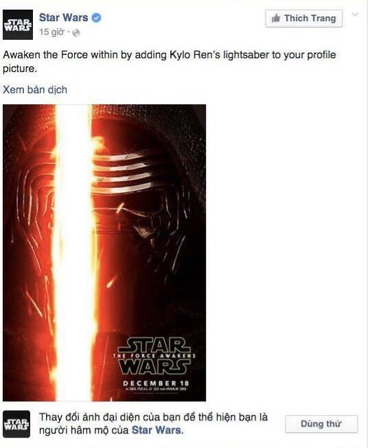 Facebook cho doi avatar theo phim Star Wars hinh anh