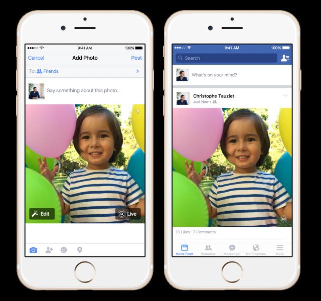 Facebook ho tro tinh nang Live Photo tren iPhone 6S hinh anh 1