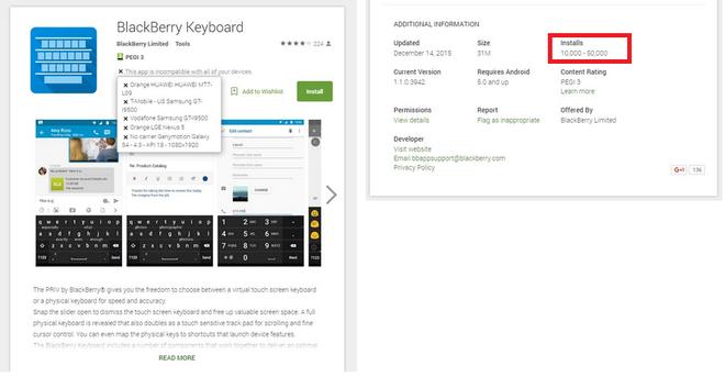 BlackBerry bi nghi thoi phong doanh so cua Priv hinh anh 1 Dữ liệu trên kho ứng dụng Play Store của Google.