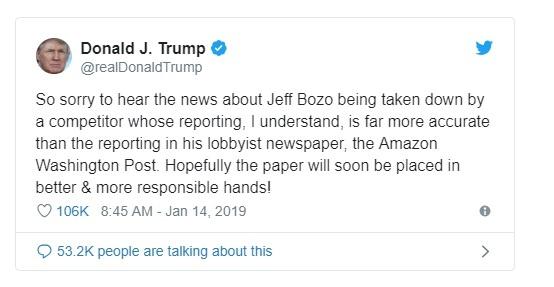 Phản ứng vui mừng của ông Donald Trump trước việc thông tin riêng tư của Bezos bị đưa lên mặt báo. Ảnh: Twitter.