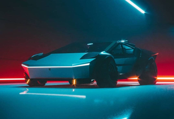 Sieu xe Cyber Roadrunner hoc tap thiet ke cua Tesla Cybertruck hinh anh 1