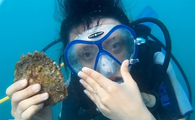 Khi tham gia lặn biển, du khách sẽ được trang bị tất cả những vật dụng cần thiết như quần áo lặn, kính mắt, ống thở... cùng một hướng dẫn viên đi cùng. Độ sâu để bạn khám phá san hô cùng các sinh vật nhiều màu sắc trong lặn biển thường từ 10 - 15 m. Chi phí cho một vòng lặn khoảng 500.000 – 600.000 đồng/ 30 phút. Ngoài ra, còn có dịch vụ chụp ảnh lặn cho du khách với giá 200.000 đồng cho 10 kiểu ảnh. Ảnh: Zen Nguyễn.