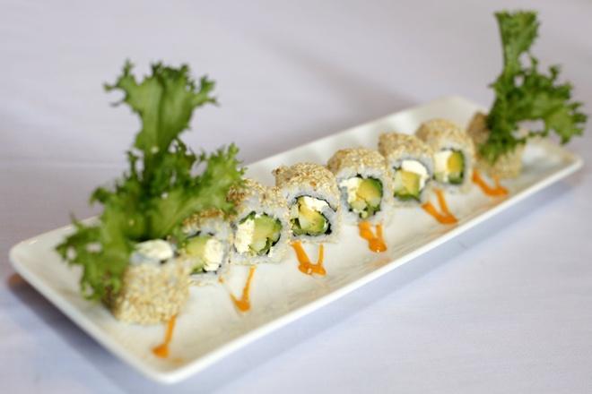Sushi bo va pho mai kem dap me hinh anh