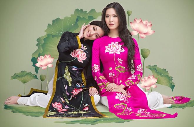 Thuy Dung, Huynh Bich Phuong khoe sac voi ao dai hinh anh