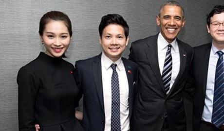 Thu Thao va ban trai khoe anh gap Tong thong Obama hinh anh