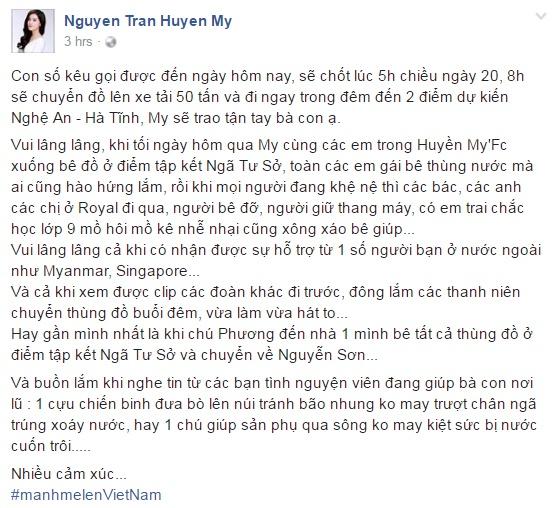 Hoa hau My Linh day dut vi chua the ve mien Trung cuu tro hinh anh 2