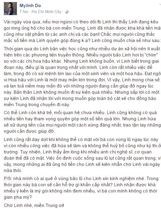 Hoa hau My Linh day dut vi chua the ve mien Trung cuu tro hinh anh 1