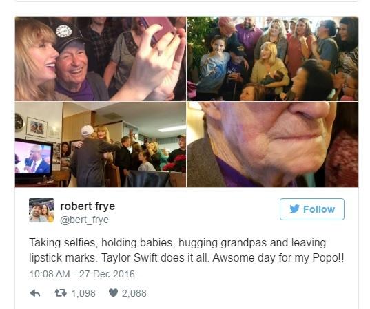 Taylor Swift bat ngo tham nha fan nam 96 tuoi hinh anh 1