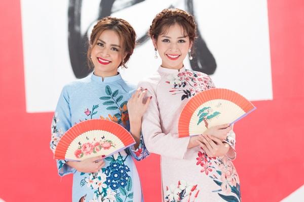 Hoang Thuy Linh, Chi Pu dien trang phuc ruc ro don xuan hinh anh