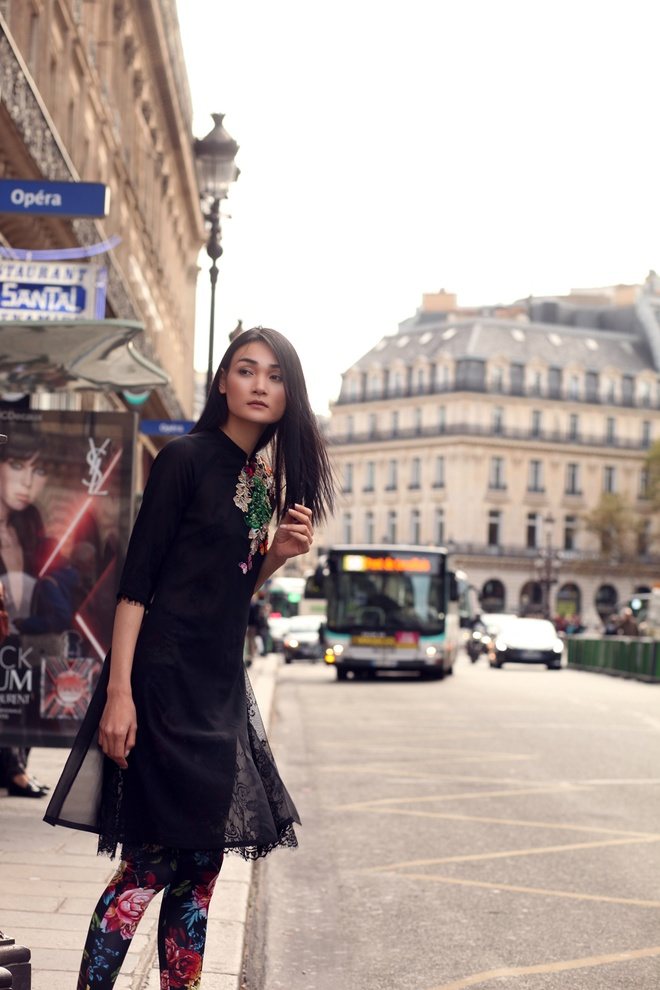 Nguoi mau Thuy Trang dien trang phuc ton vinh ve dep Viet o Paris hinh anh 2