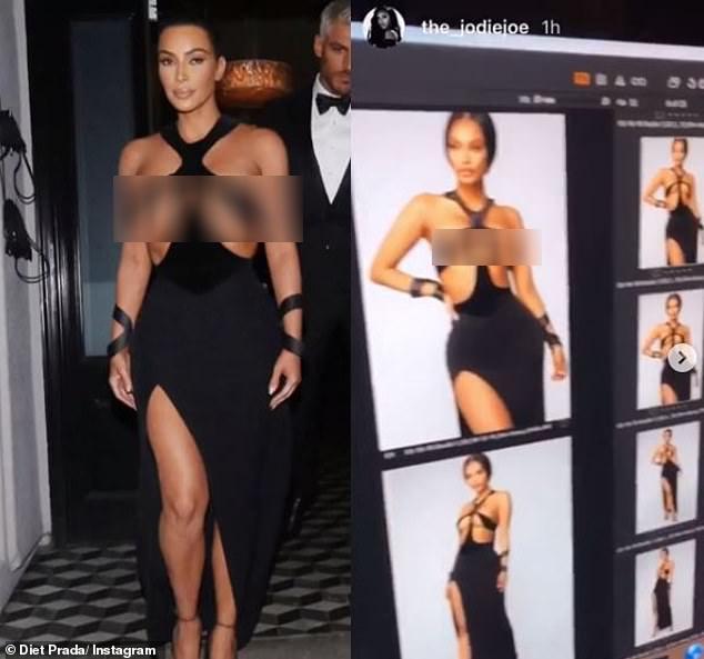 Vay cut-out phan cam cua Kim Kardashian bi nhai trang tron hinh anh 1