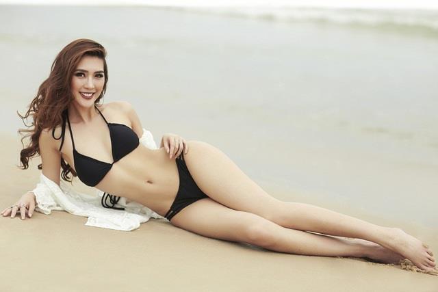 Tường Linh catwalk ở vòng thi hình thể Hoa hậu Hoàn vũ Việt Nam