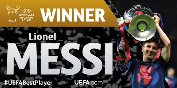 Messi nhận giải cầu thủ xuất sắc châu Âu mùa 2014 – 2015