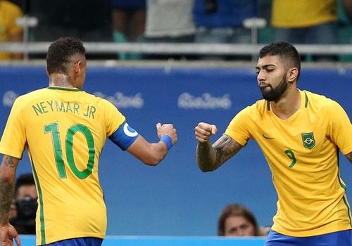 Olympic Brazil vao tu ket sau chien thang 4-0 hinh anh