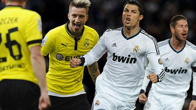 Real dung do Dortmund, Barca cung bang Man City hinh anh