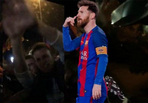 Co dong vien Barca reo ho, chan xe cua Messi o Nou Camp hinh anh